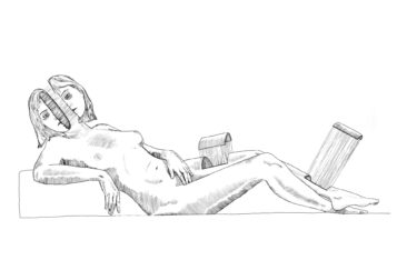 "Sleeping Venus — 68"" x 42"" — Ink on Paper — Peter Striffolino"